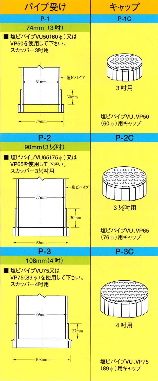 イケダ式 パイプ受け P-1,P-2,P-3 (塩ビ スカッパー) 【イケダ商会】